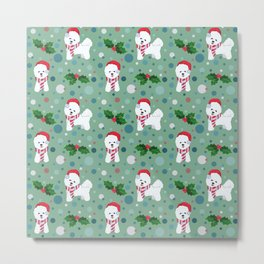 Bichon Frise dog Christmas pattern Metal Print