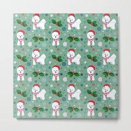 Bichon Frise dog Christmas pattern Metal Print