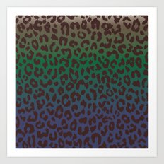 LEOPARD hue-TAUPE GREEN BLUE Art Print