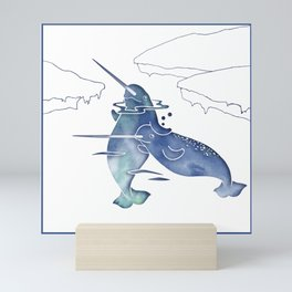 Blue Sea Narwhals Mini Art Print