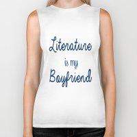 literature Biker Tanks featuring literature is my boyfriend blue by Beautiful Bibliophile's Boutique
