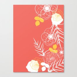 Coral Retro Floral Canvas Print