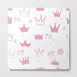 Pink hand drawn doodle crown with stars and hearts Metal Print