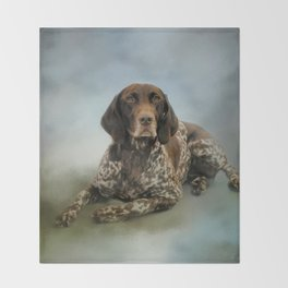 Waiting For A Cue - German Shorthaired Pointer Throw Blanket