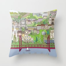 Lisbon City Poster Throw Pillow