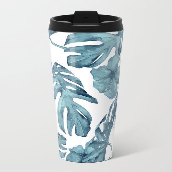 Teal Blue Tropical Palm Leaves Flowers Metal Travel Mug