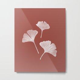 Ginkgo Biloba Pattern | Terracota Background Metal Print