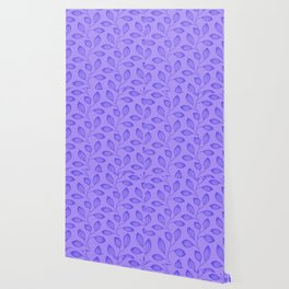 Climbing Leaves In Blue On Cold Lilac Wallpaper