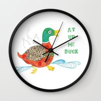 duck Wall Clocks featuring Duck by Shelley Jayne Illustration