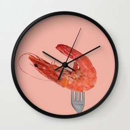 fork with shrimps coral Wall Clock