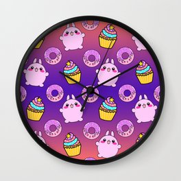 Cute funny Kawaii chibi little pink baby bunnies, happy sweet donuts and adorable colorful yummy cupcakes sunny orange purple seamless pattern design. Wall Clock