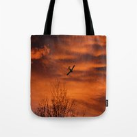 plane Tote Bags featuring Plane by Fox Industries