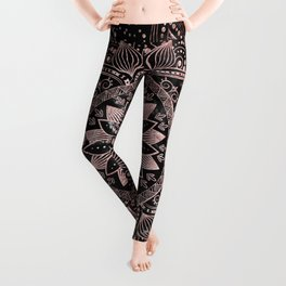 Elegant rose gold mandala dots and marble artwork Leggings