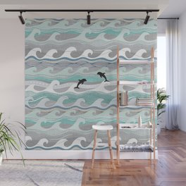 dolphins and waves Wall Mural