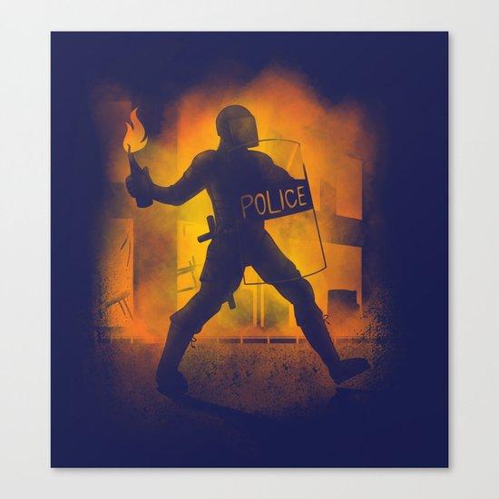 Riot Cop Canvas Print
