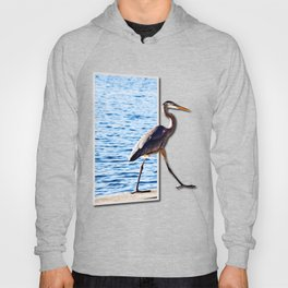 Blue Heron Strutting Out Of Frame Hoody