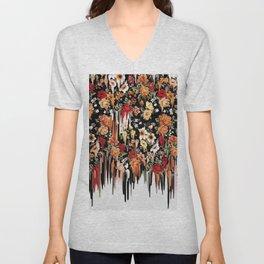 Free Falling, melting floral pattern Unisex V-Neck