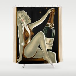 Vintage 1930 Bourgeois Pre-fils Champagne Lithograph Advertisement Poster Shower Curtain