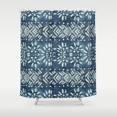 Vintage indigo inspired  flowers and lines Shower Curtain