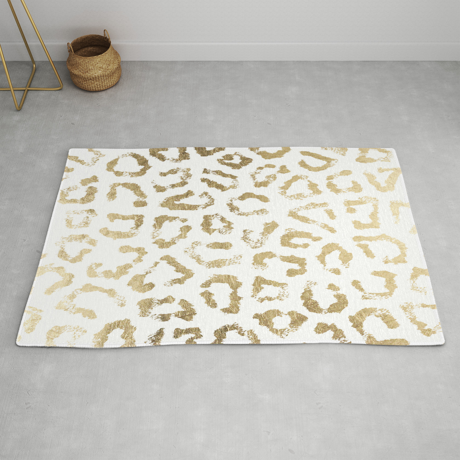 Modern White Chic Faux Gold Foil