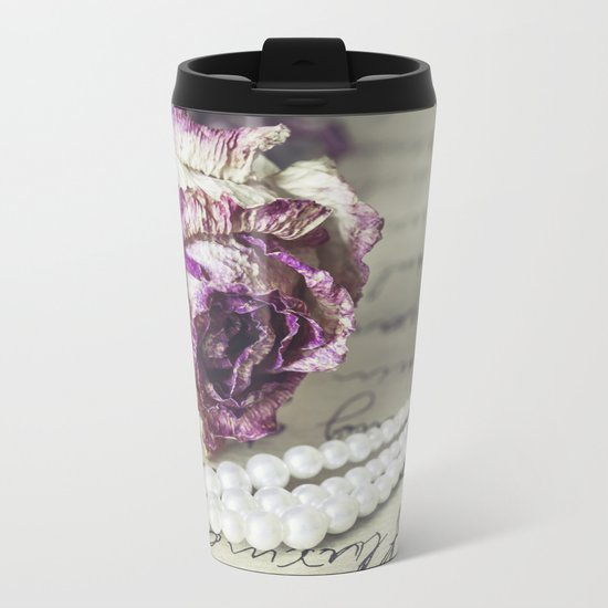 love letter with pearls and rose Metal Travel Mug