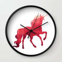 Unicorn print, wall art decor, geometric animal print, minimalist art, pink and red art Wall Clock