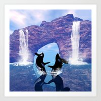 orca Art Prints featuring Orca  by nicky2342