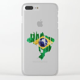 Brasil Typographic World Map / Brasil Typography Flag Map Art Clear iPhone Case