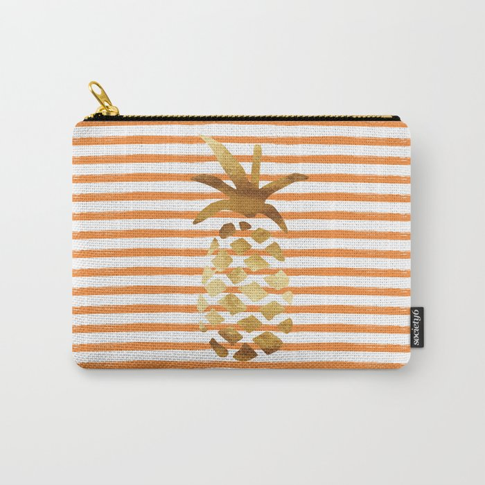 Pineapple & Stripes - Orange/White/Gold Carry-All Pouch