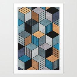 Colorful Concrete Cubes 2 - Blue, Grey, Brown Art Print