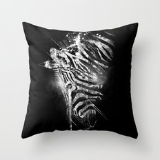 Zebra Mood - White Throw Pillow
