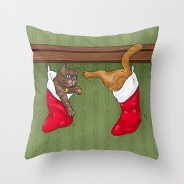Merry Cat-Mas Throw Pillow