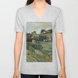 """Paul Cezanne """"Landscape"""", c.1879 Unisex V-Neck"""