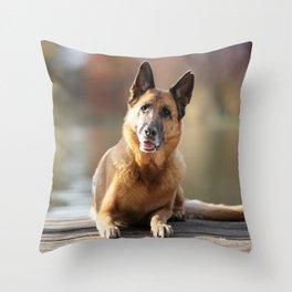 German Shepherd enjoys the Indian Summer Throw Pillow