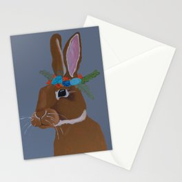 Flower Crown Hare [GREY] Stationery Cards