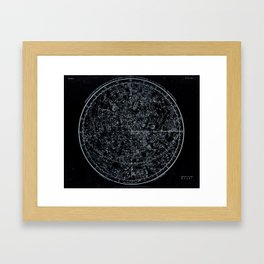 Constellations of Northern Hemisphere | White Ink on Black Archival Paper Framed Art Print