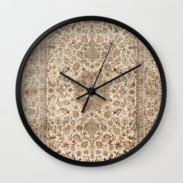 Isfahan Central Persia Old Century Authentic Colorful Dusty Blue Tan Distressed Vintage Patterns Wall Clock