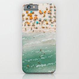 Vintage summer beach crowd aerial view  iPhone Case