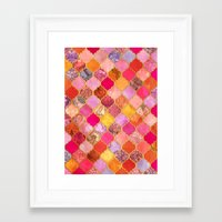 bedding Framed Art Prints featuring Hot Pink, Gold, Tangerine & Taupe Decorative Moroccan Tile Pattern by micklyn