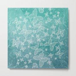 Wonderland Butterflies - blue Metal Print