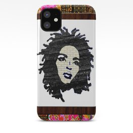 Lauryn Hill vintage fabric & wood grain patterned collage iPhone Case