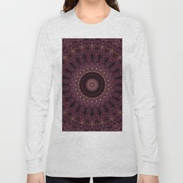 Mandala in dark purple and golden colors Long Sleeve T-shirt