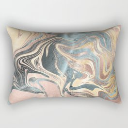 Liquid Gold and Rose Gold Marble Rectangular Pillow