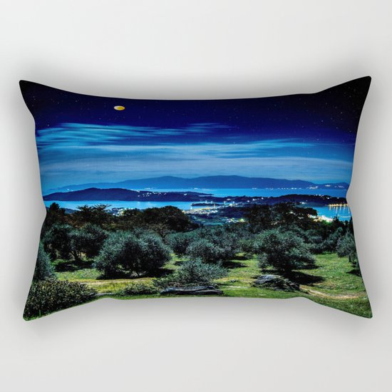 Night Sky By The Water Landscape Rectangular Pillow
