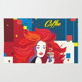 """""""Beautiful Fashion Woman and Coffee Cup"""" POP-ART poster, Retro, Design Rug"""