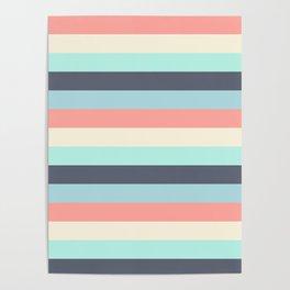 Bright Happy Stripe Pattern Modern Simple Mid Century Poster