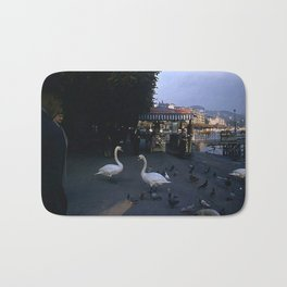 Vintage Color Photo * Lucerne * Switzerland * 1950's * Swans * Pigeons * Chocolat * Kodachrome Bath Mat