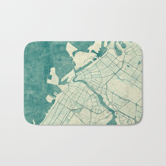 Dubai Map Blue Vintage Bath Mat