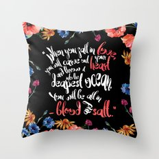 Blood and Salt by Kim Liggett book quote design Throw Pillow
