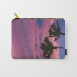 Pastel Pink Purple Periwinkle Sunset Two California Palm Tree Silhouette Carry-All Pouch